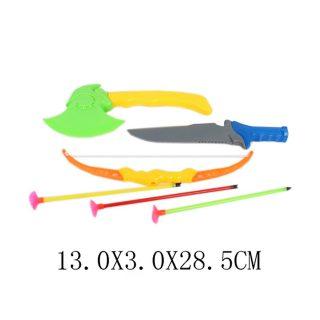 Игр.набор Охотник, лук, стрелы с присосками 3шт., топор, нож, пакет