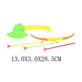 Игр.набор Следопыт, лук, стрелы с присосками 3шт., топор, пакет