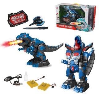 Трансформер Динозавр-робот р/у, ИК управление, свет, звук, в комплекте: меч, щит, аккум.2шт., эл.пит.АА*2шт.не вх.в комплект, коробка