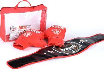Боксерский набор (перчатки + пояс победителя), в подарочной упаковке