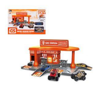 Автозаправочная станция, машина металл.2шт, коробка, в ассортименте