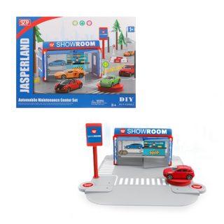 Автомобильный магазин, в комплекте: деталей 29шт., машина инерц.металл. 1шт., коробка