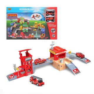Игр.набор Пожарная станция, в комплекте предметов 37шт., коробка