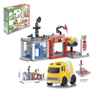 Игр.набор Автозаправочная станция, машина инерц.1шт, 57 деталей, коробка
