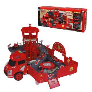Игр.набор Пожарная станция, в комплекте: деталей 42шт., транспортное средство 4шт., эл.пит.AG13*3шт. вх. в комплект, коробка