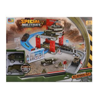 Паркинг Военный, 27 предметов, в комплекте: детали 26шт., транспорт.средство инерц. 2шт., коробка