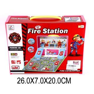 Парковка, Пожарная бригада, машина 4 шт., аксессуары, коробка