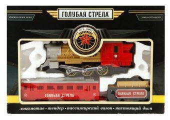 Ж/д Голубая стрела, 282см, локомотив, тендер, вагон, свет, дым. Элементы питания в комплект не входят.