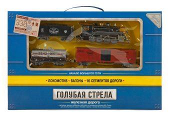 Ж/д Голубая стрела,330см,паровоз,3 вагона,свет,звук. Элементы питания не входят в комплект.
