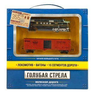 Ж/д Голубая стрела,355 см,тепловоз,1 вагон,свет,звук. Элементы питания не входят в комплект.