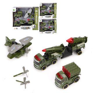 Игр.набор Военный, в комплекте: машина инерц. 2шт., самолет, коробка, в ассортименте