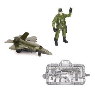 Игр.набор Военный, в комплекте: самолет инерц., фигурка 9см, оружие, пакет