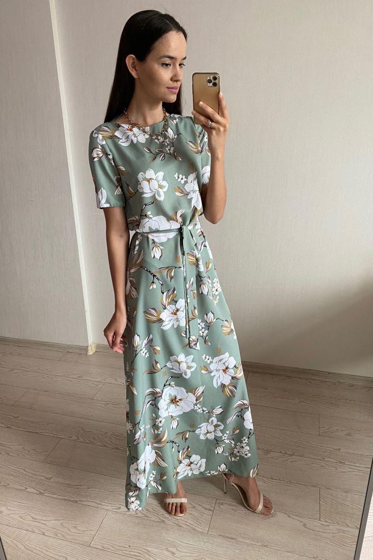 s1771 Платье макси с крупными цветами