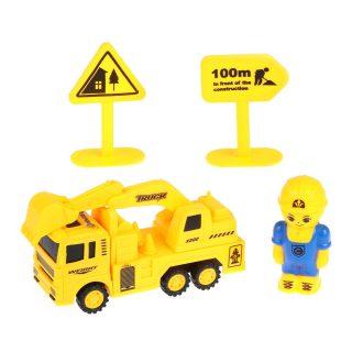 Игр.набор Стройплощадка, машина инерц., фигурка 7,5 см, дорожные знаки 2шт., пакет