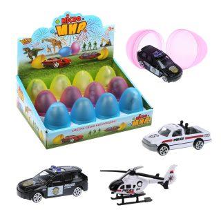 Полицейская техника металл., в яйце, дисплей, в ассортименте