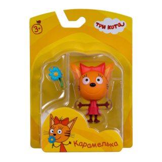 Фигурка пластиковая Три кота Карамелька 7,6 см., подвижные ножки и ручки, с аксессуаром, на блистере