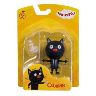 Фигурка пластиковая Три кота Сажик 7,6 см., подвижные ножки и ручки, с аксессуаром, на блистере