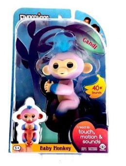Интерактивная обезьянка Канди розовая c голубым 12 см