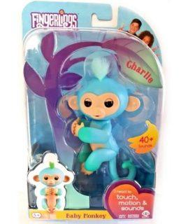 Интерактивная обезьянка Чарли голубая с зеленым 12 см