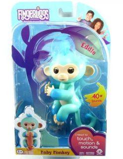 Интерактивная обезьянка Эдди голубая 12 см