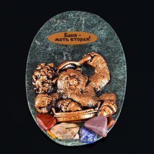 """Магнит """"Медведь в баньке"""", 7х10 см, змеевик, гипс   4746724"""