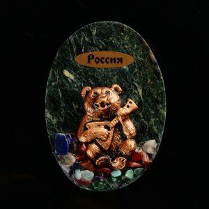"""Магнит """"Медведь с балалайкой. Россия"""", 10х7 см, змеевик, гипс   4746683"""