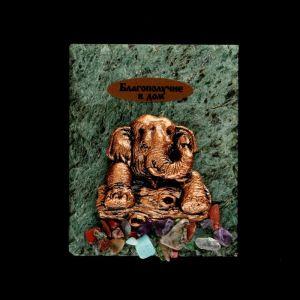 """Магнит """"Слон. Благополучие в дом"""", 6х8 см, змеевик, гипс, минералы, микс   4746700"""