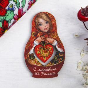 Магнит-матрёшка с подвесом «С любовью из России. Узоры»