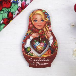Магнит-матрёшка с подвесом «С любовью из России. Цветы»