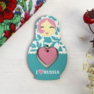 Магнит-матрёшка с подвесом I love Russia, бирюзовый