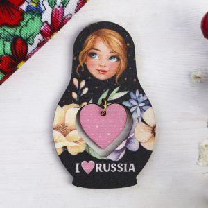 Магнит-матрёшка с подвесом I love Russia, цветы