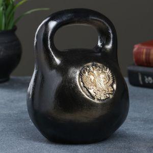 "Копилка ""Гиря с гербом"" черная 15х15х18см   4182069"