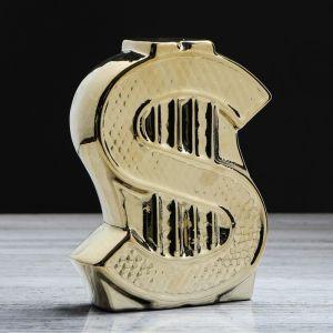 """Копилка """"Доллар"""", булат, золотистый цвет, 18 см"""