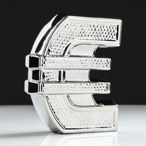 "Копилка ""Евро"", булат, серебристый цвет, 18 см"