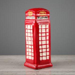 """Копилка """"Телефонная будка"""", глянец, красный цвет, 16 см"""