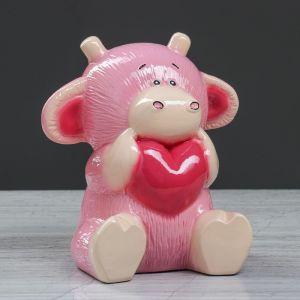 """Копилка """"Бычок Кроха"""" глянец, розовый , 19 см"""