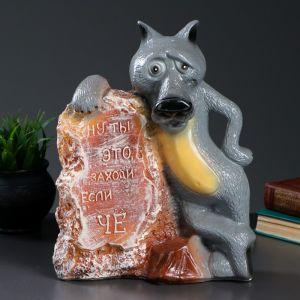 """Копилка """"Волк у камня"""" 25х13х32см цветной  3739384"""