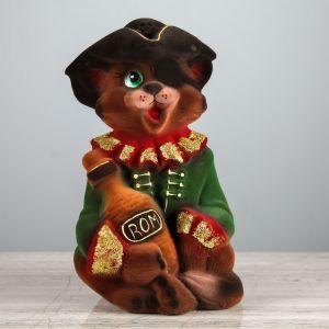 """Копилка """"Кот пират"""", покрытие флок, коричневая, 22 см"""
