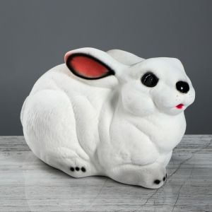 "Копилка ""Заяц"", флок, белый цвет, 20 см"