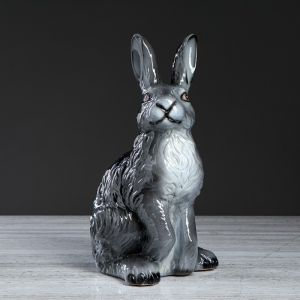 """Копилка """"Заяц"""", серая, глянец, 40 см"""