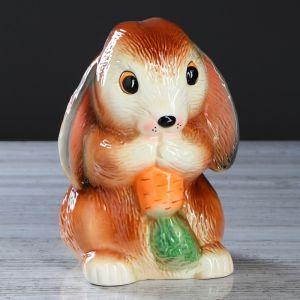 """Копилка """"Кролик с морковкой"""", глазурь, коричневый цвет, 23 см, микс"""