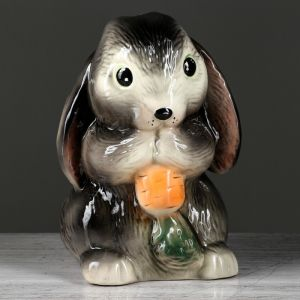 """Копилка """"Кролик с морковкой"""", глазурь, серый цвет, 23 см"""