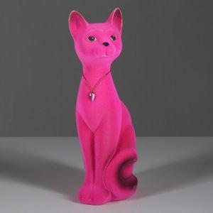 """Копилка """"Кот Кузя"""", покрытие флок, розовая, 26 см"""
