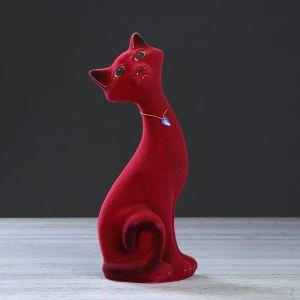 """Копилка """"Кот Маркиз"""", покрытие флок, бордовая, 29 см"""
