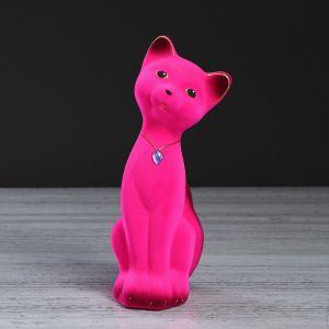 """Копилка """"Кот Матвей"""", покрытие флок, розовая, 24 см"""