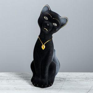 """Копилка """"Кот Матвей"""", покрытие флок, чёрная, 24 см"""