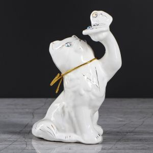 """Копилка """"Кот с бабочкой"""", покрытие лак, белая, 14 см, микс"""