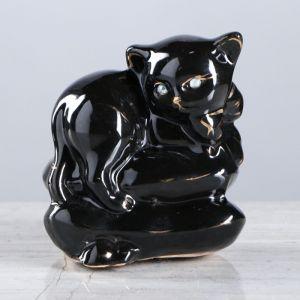 """Копилка """"Котенок на подушке"""", покрытие лак, чёрная, 9 см"""
