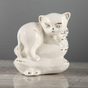"""Копилка """"Котик на подушке"""", покрытие лак, белая, 9 см"""