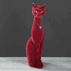 "Копилка ""Кошка Мурка"", покрытие флок, бордовая, 28 см"
